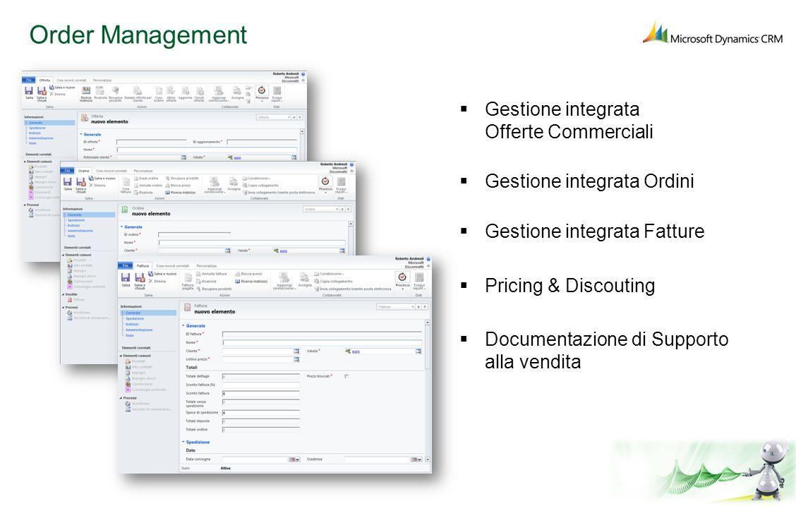 Order Management Gestione integrata Offerte Commerciali Gestione integrata Ordini Gestione integrata Fatture Pricing & Discouting Documentazione di Su
