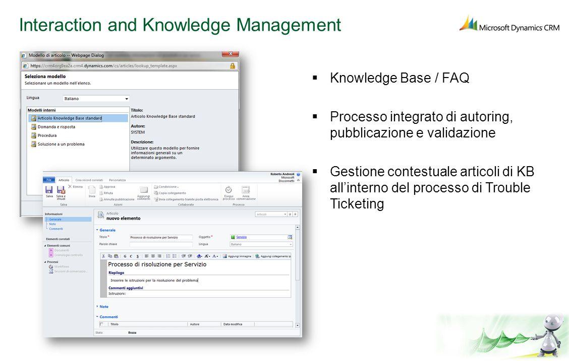 Interaction and Knowledge Management Knowledge Base / FAQ Processo integrato di autoring, pubblicazione e validazione Gestione contestuale articoli di