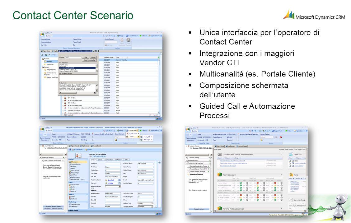 Contact Center Scenario Unica interfaccia per loperatore di Contact Center Integrazione con i maggiori Vendor CTI Multicanalità (es. Portale Cliente)