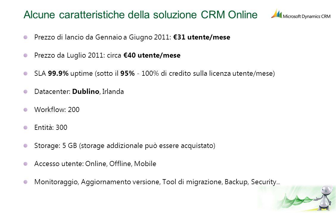 Alcune caratteristiche della soluzione CRM Online Prezzo di lancio da Gennaio a Giugno 2011: 31 utente/mese Prezzo da Luglio 2011: circa 40 utente/mes