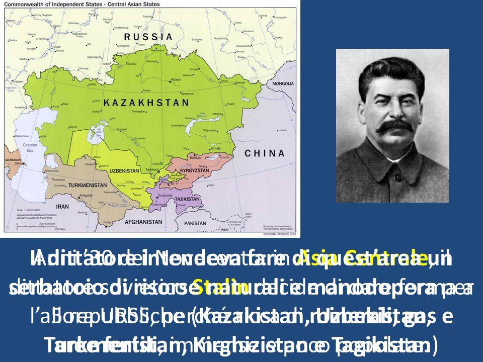Anni 30 del Novecento: in Asia Centrale, il dittatore sovietico Stalin decide di dare forma a 5 repubbliche (Kazakistan, Uzbekistan, Turkmenistan, Kir