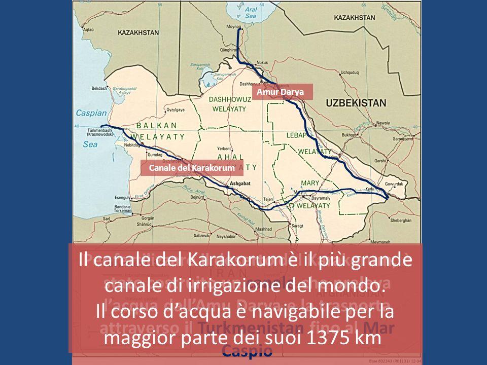 Per fertilizzare il deserto del Karakorum, è stato costruito un canale che preleva lacqua dallAmu Darya e la trasporta attraverso il Turkmenistan fino