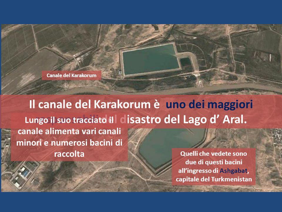 Il canale del Karakorum è uno dei maggiori responsabili del disastro del Lago d Aral. Lungo il suo tracciato il canale alimenta vari canali minori e n