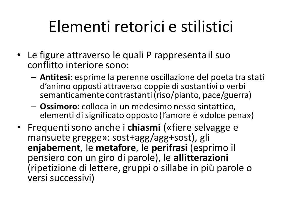 Elementi retorici e stilistici Le figure attraverso le quali P rappresenta il suo conflitto interiore sono: – Antitesi: esprime la perenne oscillazion