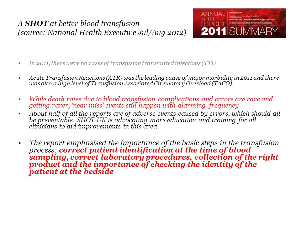 A SHOT at better blood transfusion (source: National Health Executive Jul/Aug 2012) In 2011, there were no cases of transfusion transmitted infections (TTI) Acute Transfusion Reactions (ATR) was the leading cause of major morbidity in 2011 and there was also a high level of Transfusion Associated Circulatory Overload (TACO) While death rates due to blood transfusion complications and errors are rare and getting rarer, near miss events still happen with alarming frequency About half of all the reports are of adverse events caused by errors, which should all be preventable.