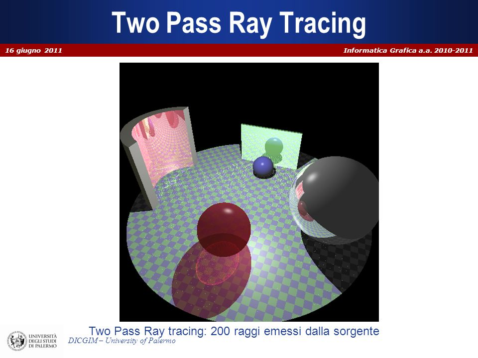Informatica Grafica a.a. 2010-2011 DICGIM – University of Palermo Two Pass Ray Tracing Two Pass Ray tracing: 200 raggi emessi dalla sorgente 16 giugno