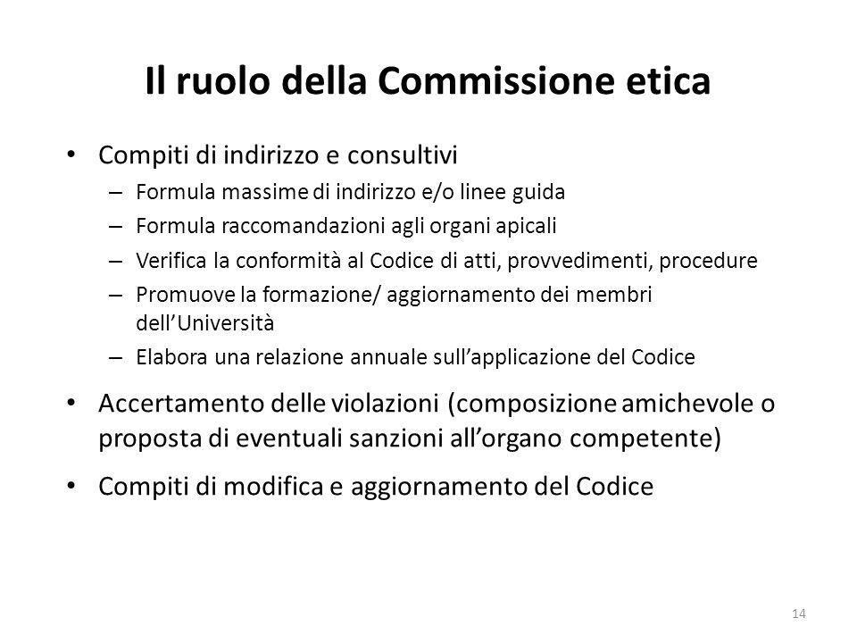Il ruolo della Commissione etica Compiti di indirizzo e consultivi – Formula massime di indirizzo e/o linee guida – Formula raccomandazioni agli organ