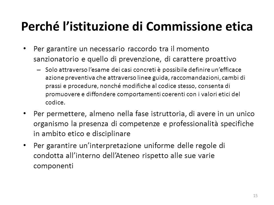 Perché listituzione di Commissione etica Per garantire un necessario raccordo tra il momento sanzionatorio e quello di prevenzione, di carattere proat