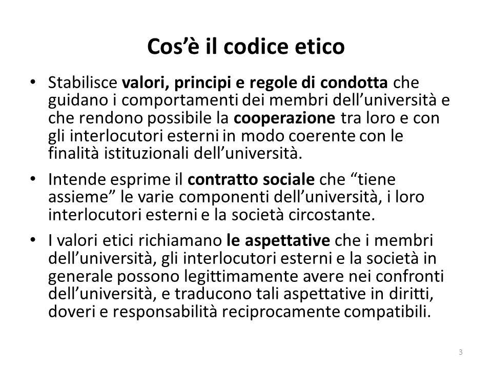 Cosè il codice etico Stabilisce valori, principi e regole di condotta che guidano i comportamenti dei membri delluniversità e che rendono possibile la