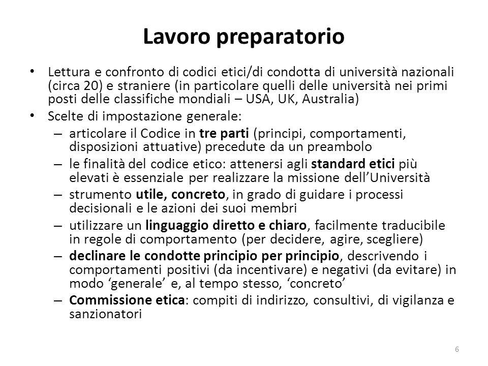 Lavoro preparatorio Lettura e confronto di codici etici/di condotta di università nazionali (circa 20) e straniere (in particolare quelli delle univer