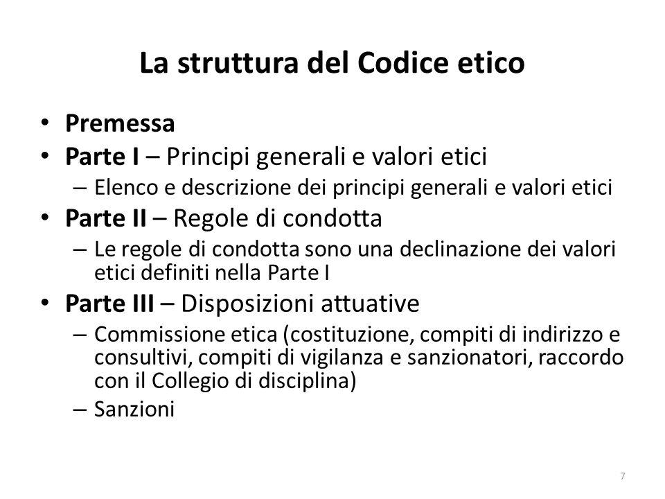 La struttura del Codice etico Premessa Parte I – Principi generali e valori etici – Elenco e descrizione dei principi generali e valori etici Parte II