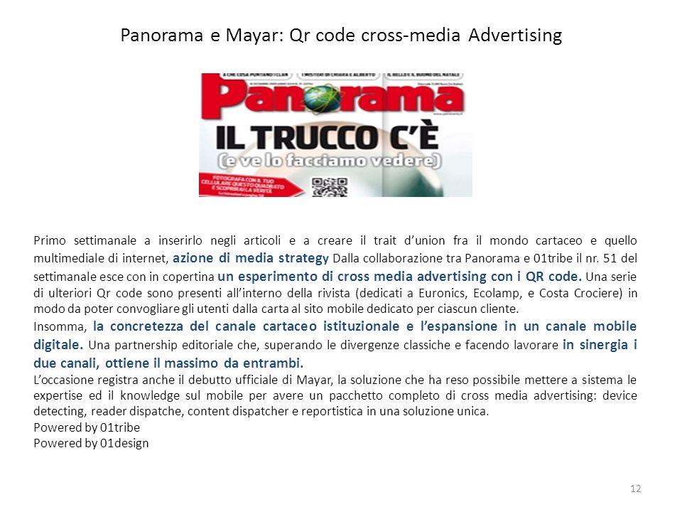 Panorama e Mayar: Qr code cross-media Advertising 12 Primo settimanale a inserirlo negli articoli e a creare il trait dunion fra il mondo cartaceo e q