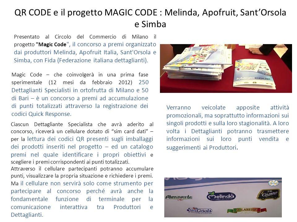 QR CODE e il progetto MAGIC CODE : Melinda, Apofruit, SantOrsola e Simba 13 Presentato al Circolo del Commercio di Milano il progetto