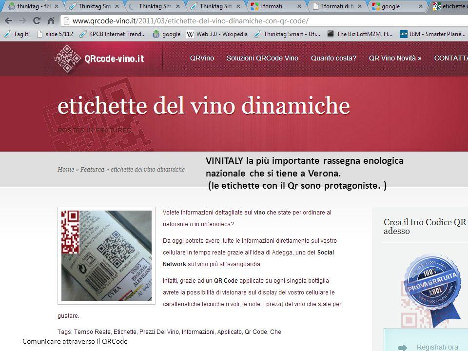 16 VINITALY la più importante rassegna enologica nazionale che si tiene a Verona. (le etichette con il Qr sono protagoniste. ) Comunicare attraverso i