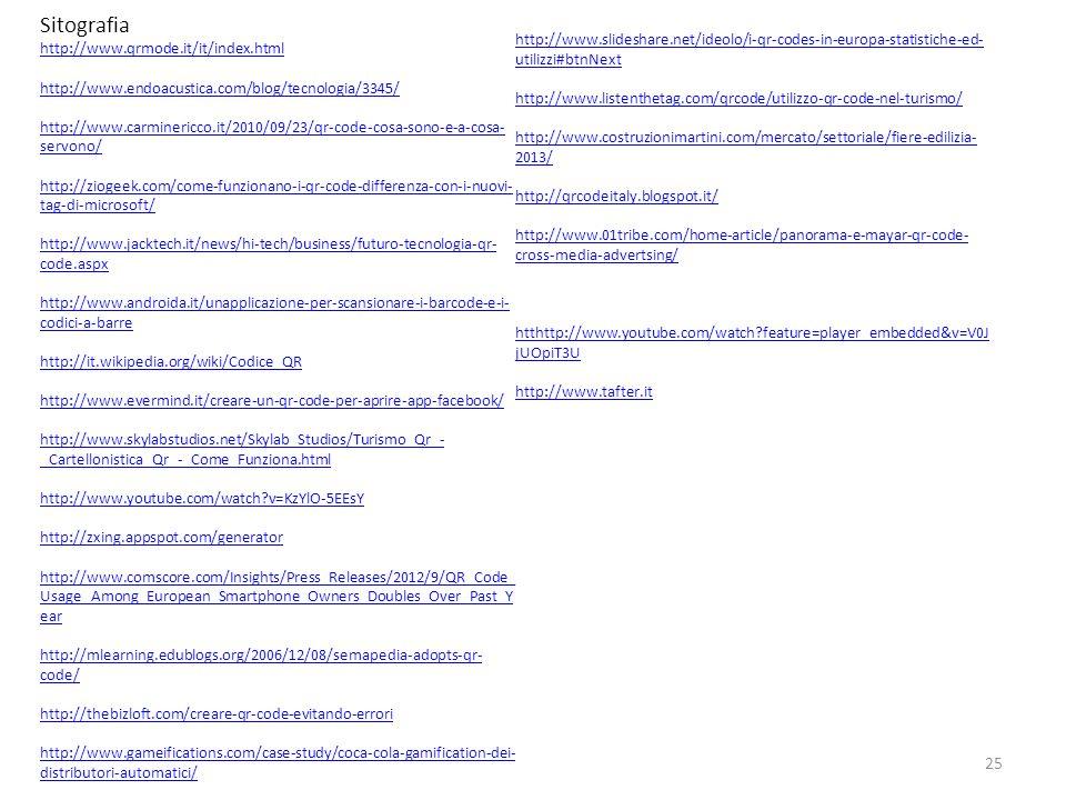 25 Sitografia http://www.qrmode.it/it/index.html http://www.endoacustica.com/blog/tecnologia/3345/ http://www.carminericco.it/2010/09/23/qr-code-cosa-