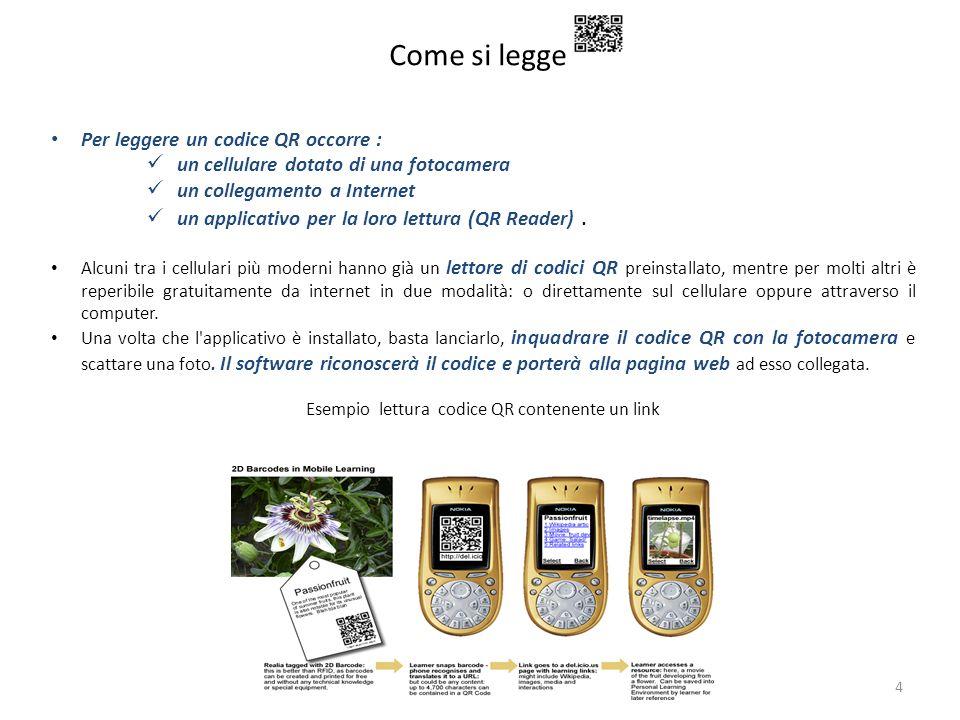 Come si legge 4 Per leggere un codice QR occorre : un cellulare dotato di una fotocamera un collegamento a Internet un applicativo per la loro lettura