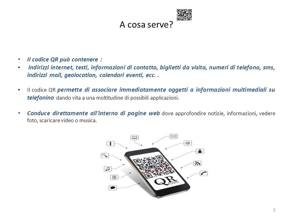 A cosa serve? 5 Il codice QR può contenere : indirizzi internet, testi, informazioni di contatto, biglietti da visita, numeri di telefono, sms, indiri