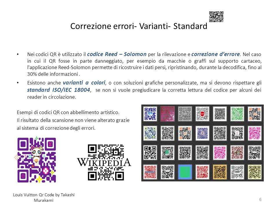 Correzione errori- Varianti- Standard Nei codici QR è utilizzato il codice Reed – Solomon per la rilevazione e correzione derrore. Nel caso in cui il