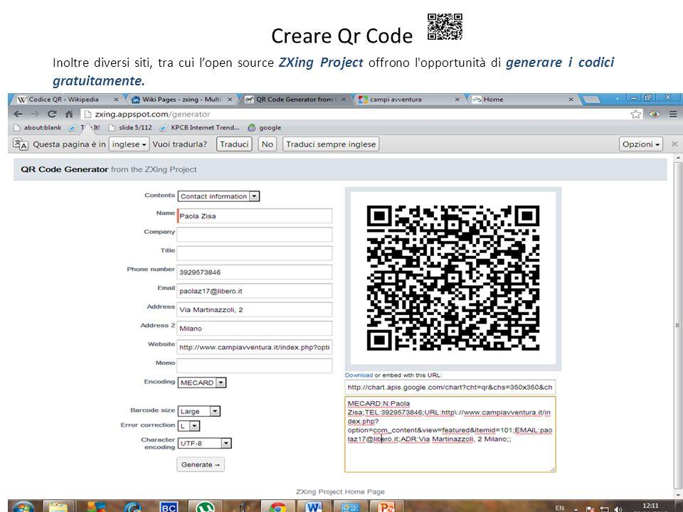 7 Creare Qr Code Inoltre diversi siti, tra cui lopen source ZXing Projec t offrono l'opportunità di generare i codici gratuitamente.