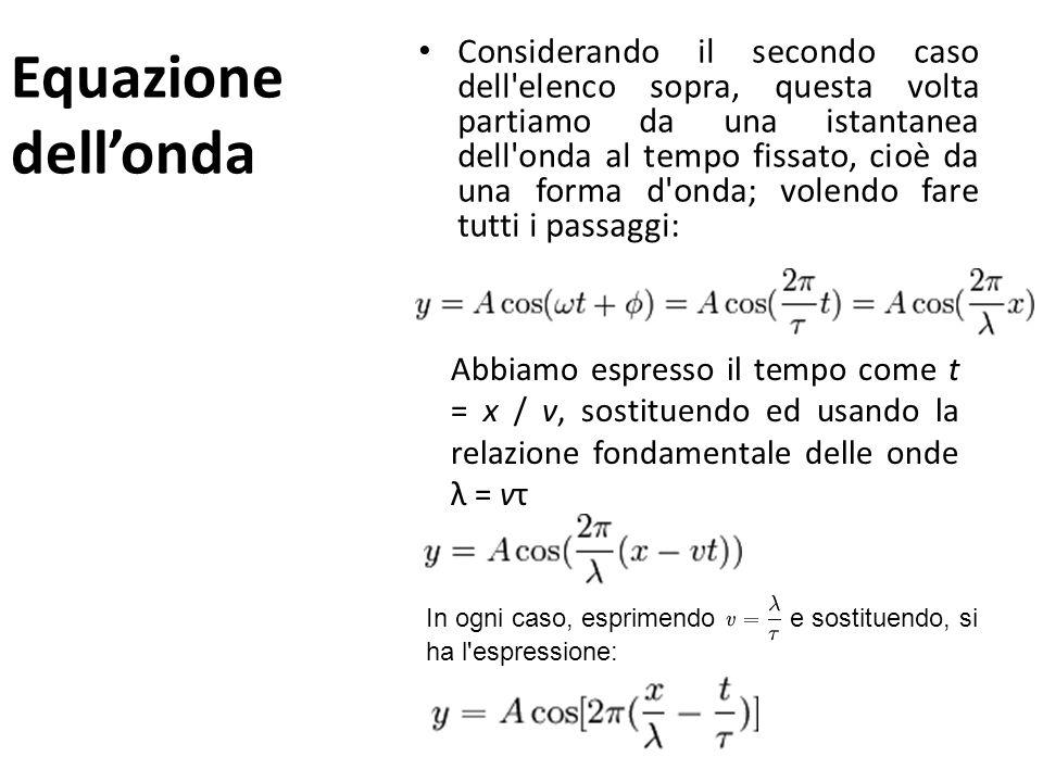 Equazione di unonda 2 se la perturbazione sul mezzo si propaga dall'inizio muovendosi con velocità di fase v, allora essa raggiungerà un altro punto (