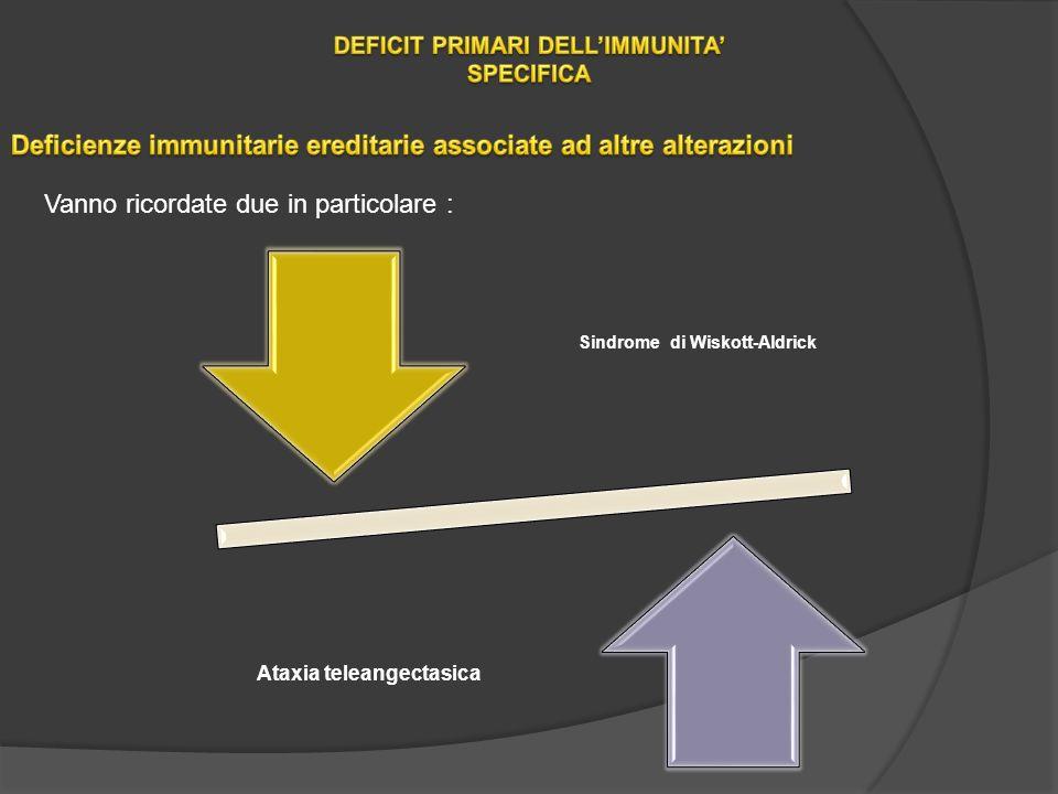 Vanno ricordate due in particolare : Sindrome di Wiskott-Aldrick Ataxia teleangectasica