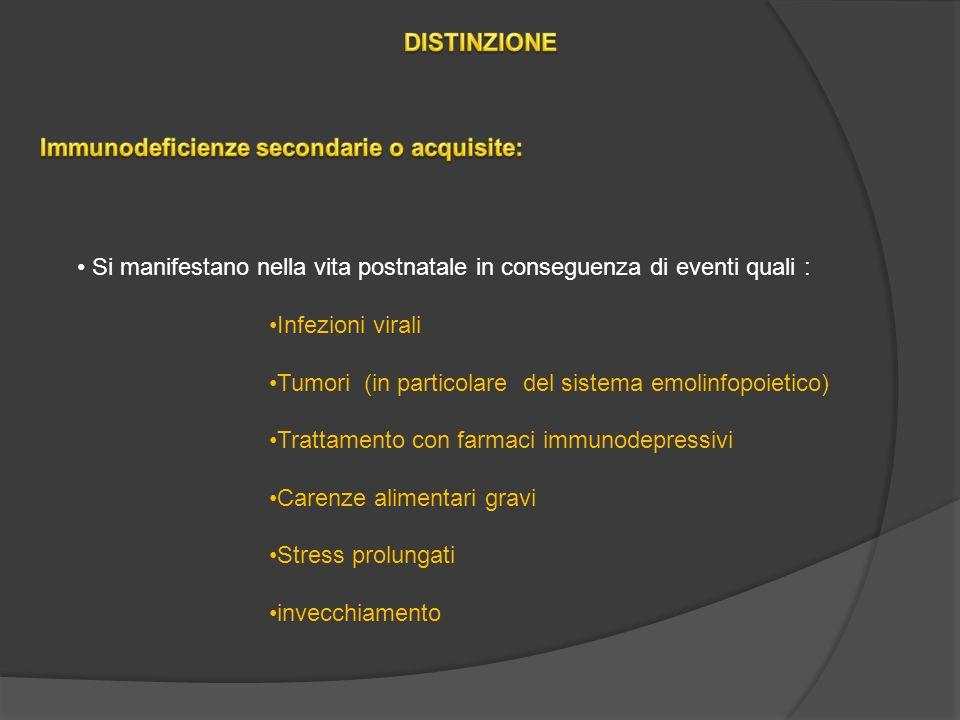 Si manifestano nella vita postnatale in conseguenza di eventi quali : Infezioni virali Tumori (in particolare del sistema emolinfopoietico) Trattamento con farmaci immunodepressivi Carenze alimentari gravi Stress prolungati invecchiamento
