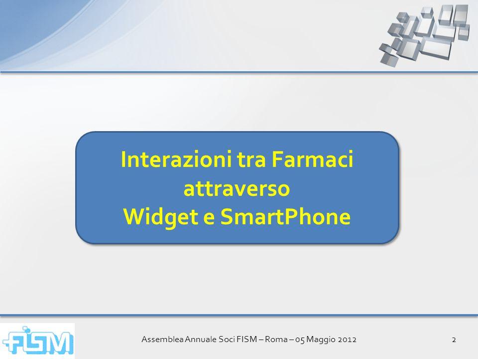 Assemblea Annuale Soci FISM – Roma – 05 Maggio 20123 Interazioni tra Farmaci Lincidenza di reazioni avverse aumenta in maniera quasi esponenziale con laumentare del numero di farmaci che vengono assunti contemporaneamente.