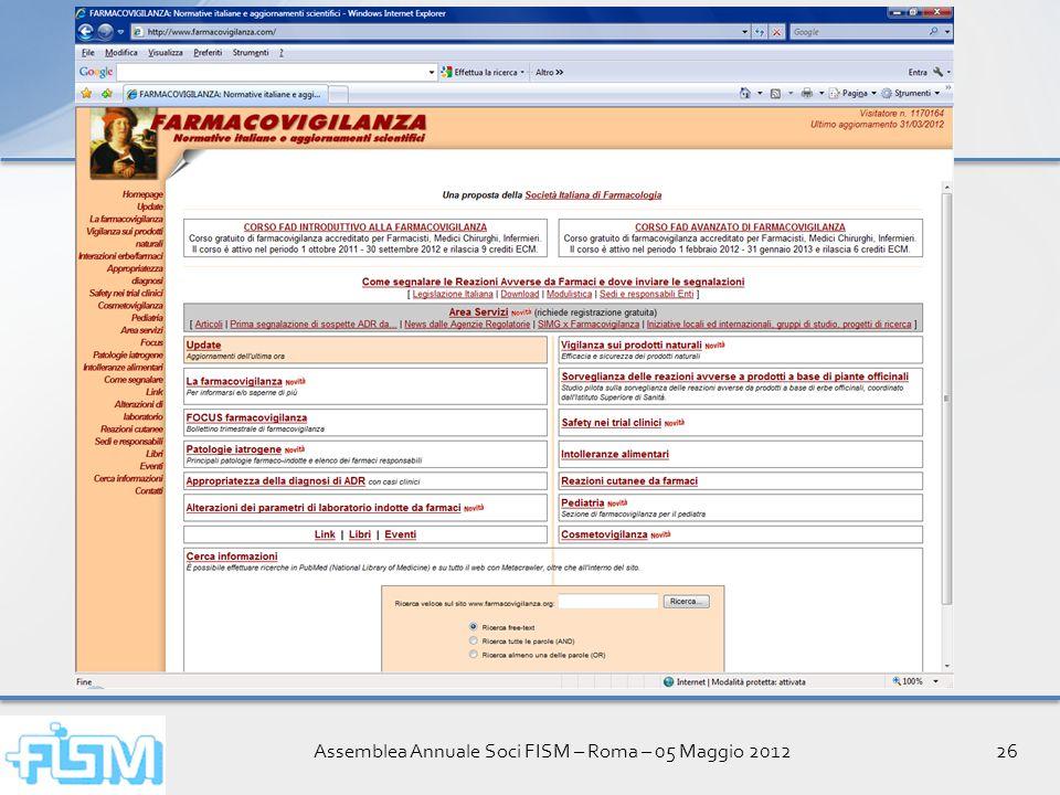 Assemblea Annuale Soci FISM – Roma – 05 Maggio 201226