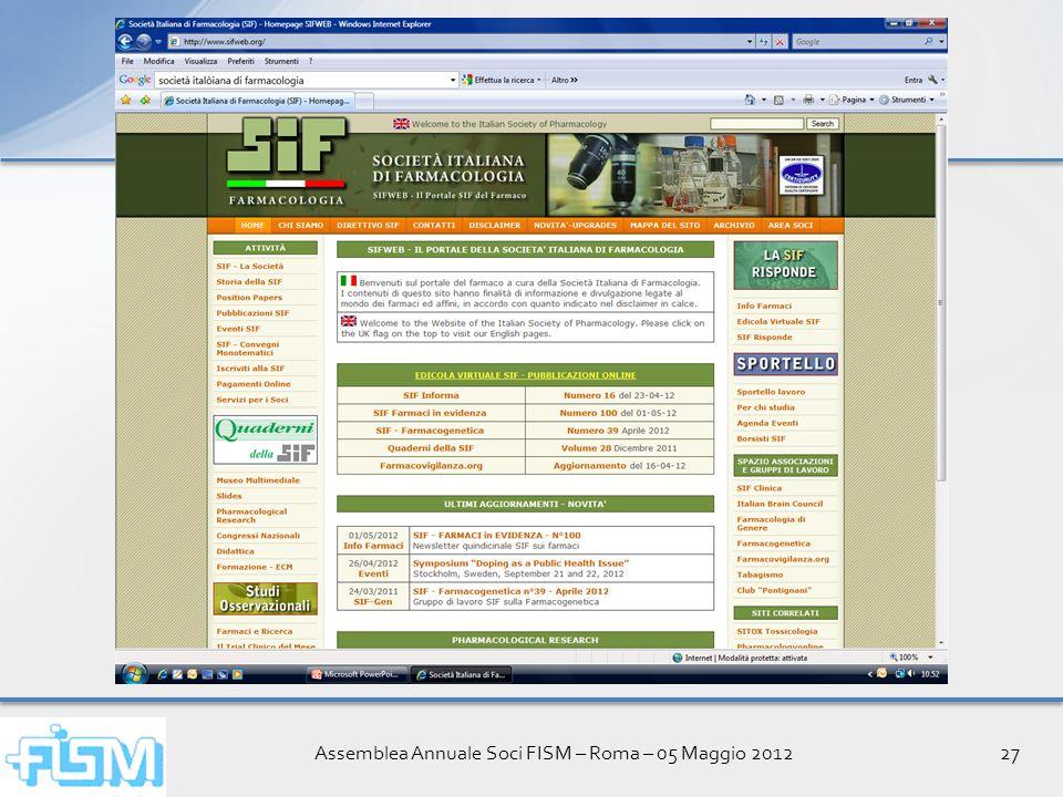 Assemblea Annuale Soci FISM – Roma – 05 Maggio 201227
