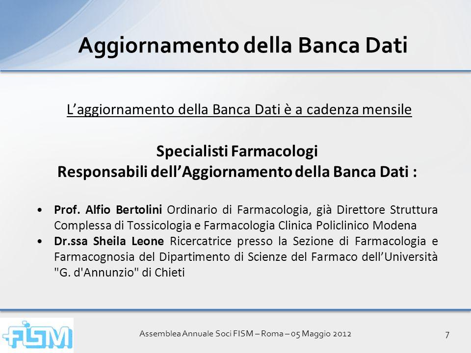 Assemblea Annuale Soci FISM – Roma – 05 Maggio 20128 Widget sulle Interazioni tra Farmaci Simulazione