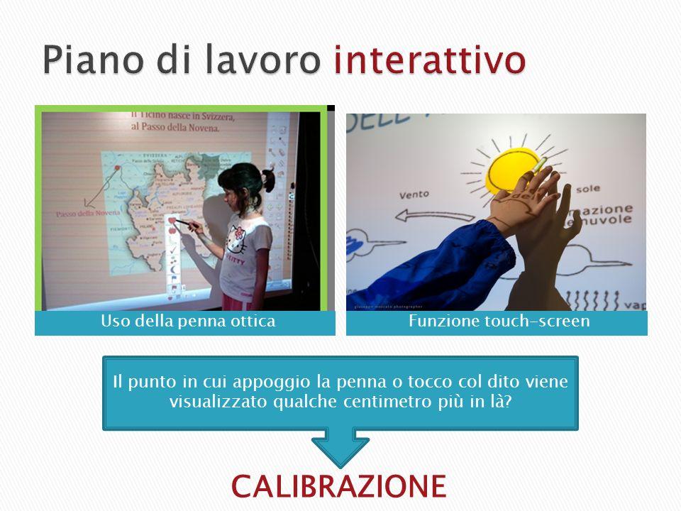 CALIBRAZIONE Il punto in cui appoggio la penna o tocco col dito viene visualizzato qualche centimetro più in là? Funzione touch-screenUso della penna