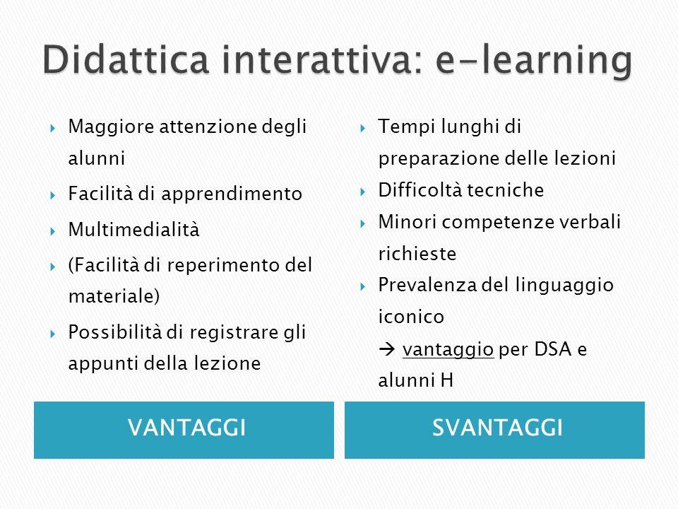 VANTAGGISVANTAGGI Maggiore attenzione degli alunni Facilità di apprendimento Multimedialità (Facilità di reperimento del materiale) Possibilità di reg