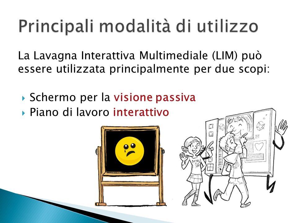 La Lavagna Interattiva Multimediale (LIM) può essere utilizzata principalmente per due scopi: Schermo per la visione passiva Piano di lavoro interatti