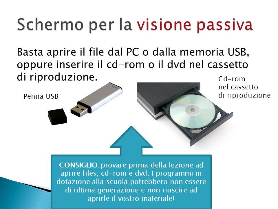 Basta aprire il file dal PC o dalla memoria USB, oppure inserire il cd-rom o il dvd nel cassetto di riproduzione. Penna USB Cd-rom nel cassetto di rip