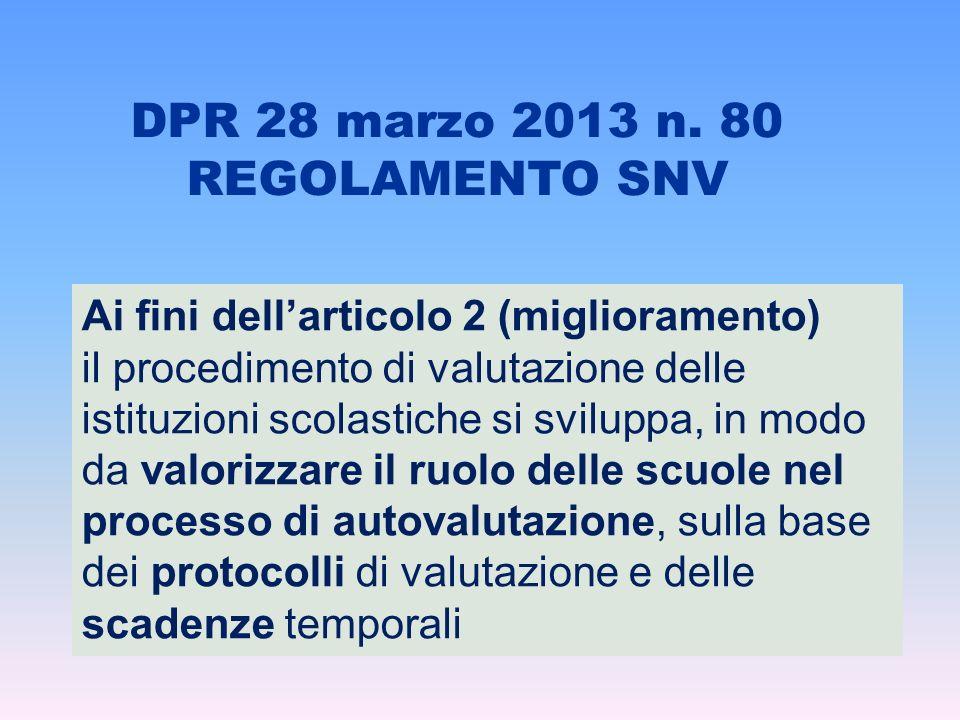 DPR 28 marzo 2013 n. 80 REGOLAMENTO SNV Ai fini dellarticolo 2 (miglioramento) il procedimento di valutazione delle istituzioni scolastiche si svilupp