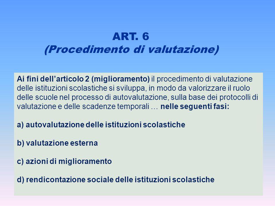 ART. 6 (Procedimento di valutazione) Ai fini dellarticolo 2 (miglioramento) il procedimento di valutazione delle istituzioni scolastiche si sviluppa,