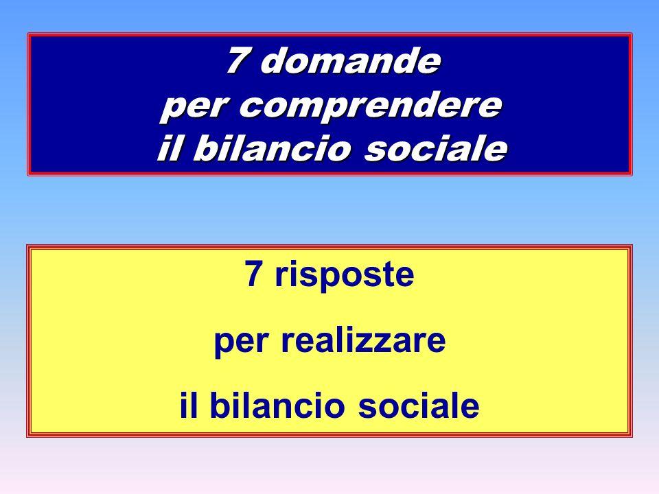 7 risposte per realizzare il bilancio sociale 7 domande per comprendere il bilancio sociale