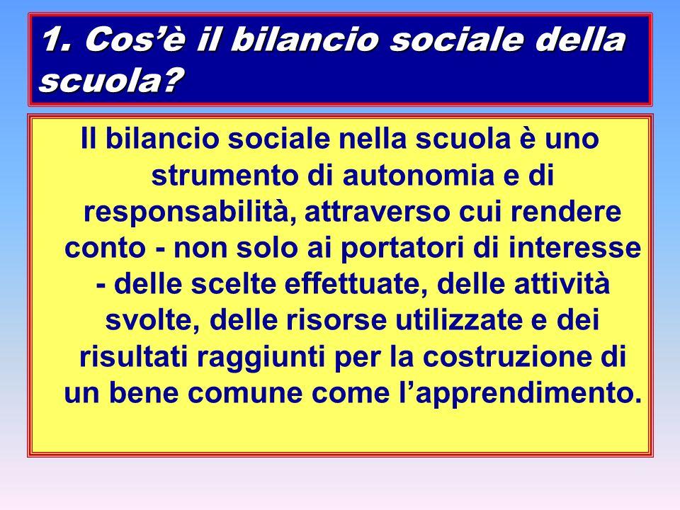 Il bilancio sociale nella scuola è uno strumento di autonomia e di responsabilità, attraverso cui rendere conto - non solo ai portatori di interesse -