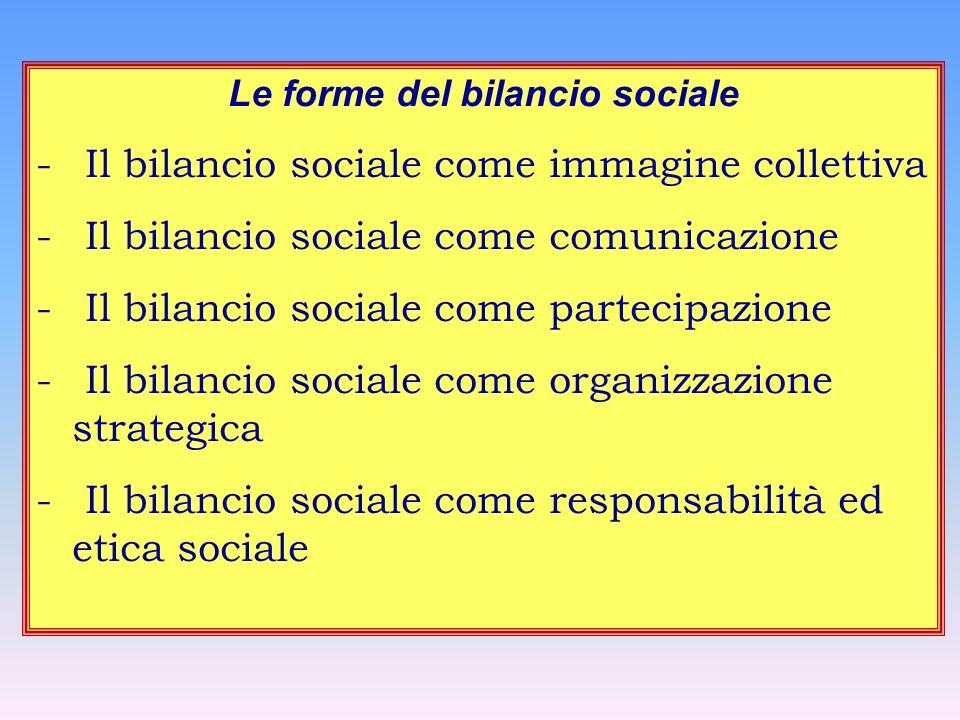 Le forme del bilancio sociale - Il bilancio sociale come immagine collettiva - Il bilancio sociale come comunicazione - Il bilancio sociale come parte