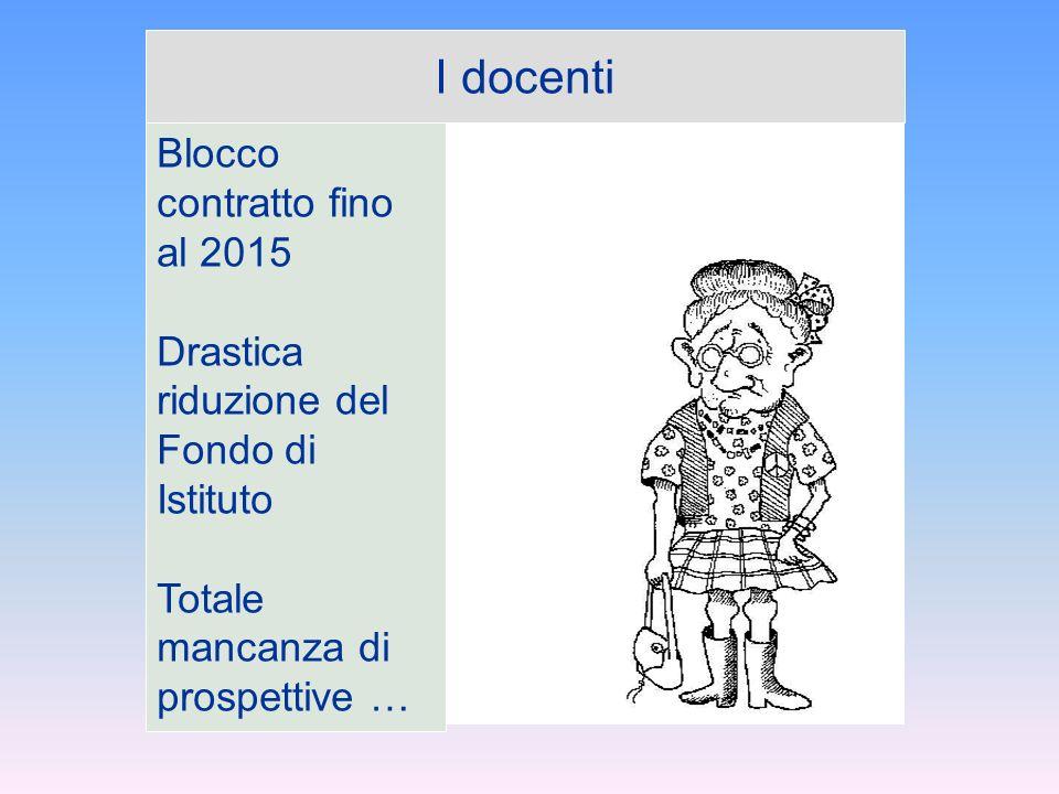 I docenti Blocco contratto fino al 2015 Drastica riduzione del Fondo di Istituto Totale mancanza di prospettive …