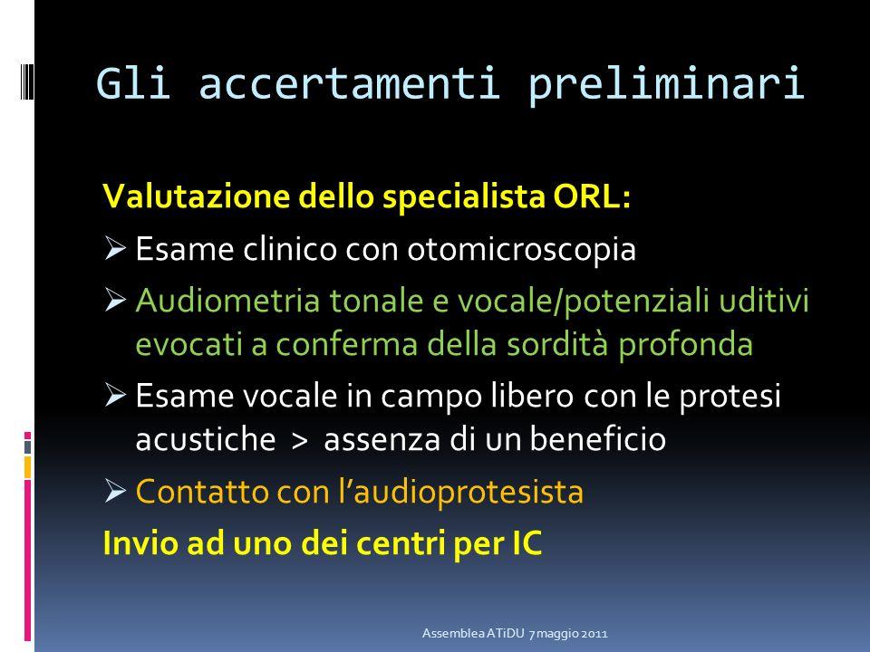 Gli accertamenti preliminari Valutazione dello specialista ORL: Esame clinico con otomicroscopia Audiometria tonale e vocale/potenziali uditivi evocat