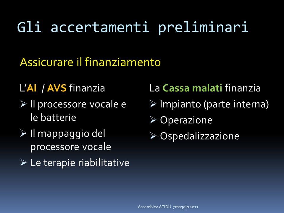 Gli accertamenti preliminari LAI / AVS finanzia Il processore vocale e le batterie Il mappaggio del processore vocale Le terapie riabilitative La Cass
