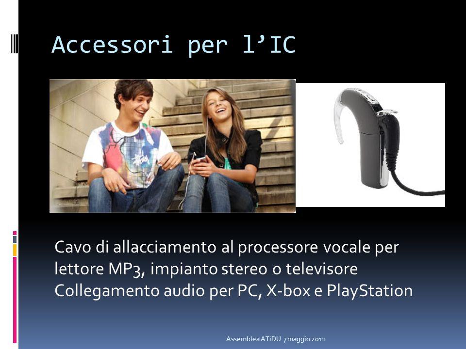 Accessori per lIC Assemblea ATiDU 7 maggio 2011 Cavo di allacciamento al processore vocale per lettore MP3, impianto stereo o televisore Collegamento