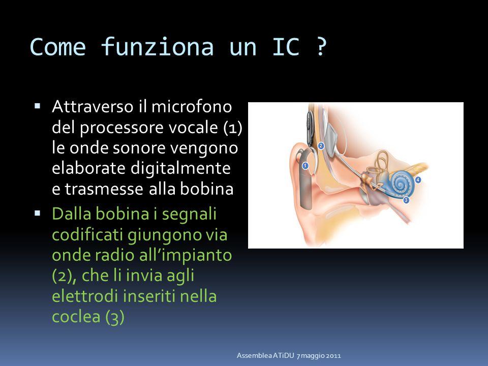 Come funziona un IC ? Attraverso il microfono del processore vocale (1) le onde sonore vengono elaborate digitalmente e trasmesse alla bobina Dalla bo
