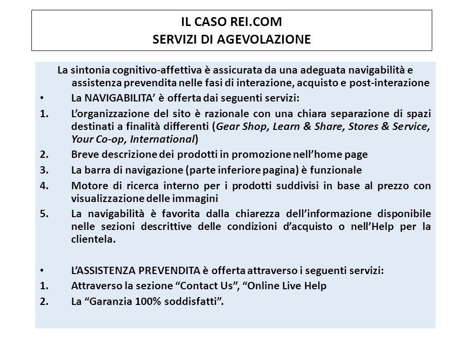 IL CASO REI.COM SERVIZI DI AGEVOLAZIONE La sintonia cognitivo-affettiva è assicurata da una adeguata navigabilità e assistenza prevendita nelle fasi d