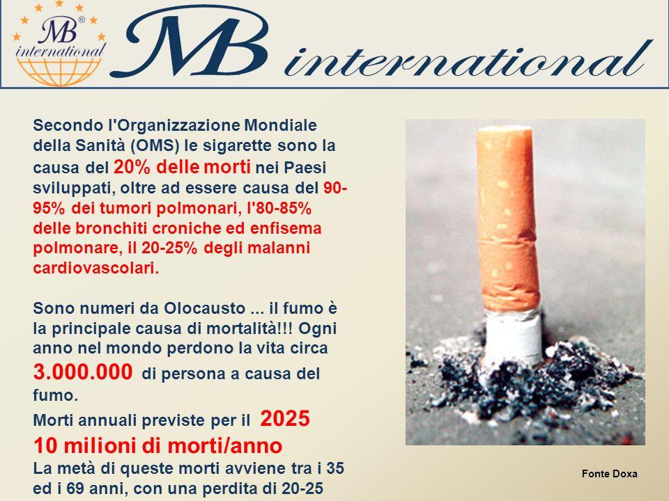 Secondo l Organizzazione Mondiale della Sanità (OMS) le sigarette sono la causa del 20% delle morti nei Paesi sviluppati, oltre ad essere causa del 90- 95% dei tumori polmonari, l 80-85% delle bronchiti croniche ed enfisema polmonare, il 20-25% degli malanni cardiovascolari.