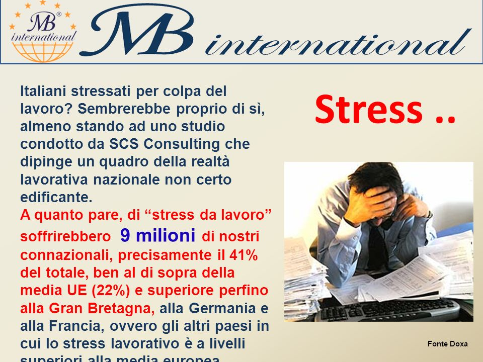 Italiani stressati per colpa del lavoro.