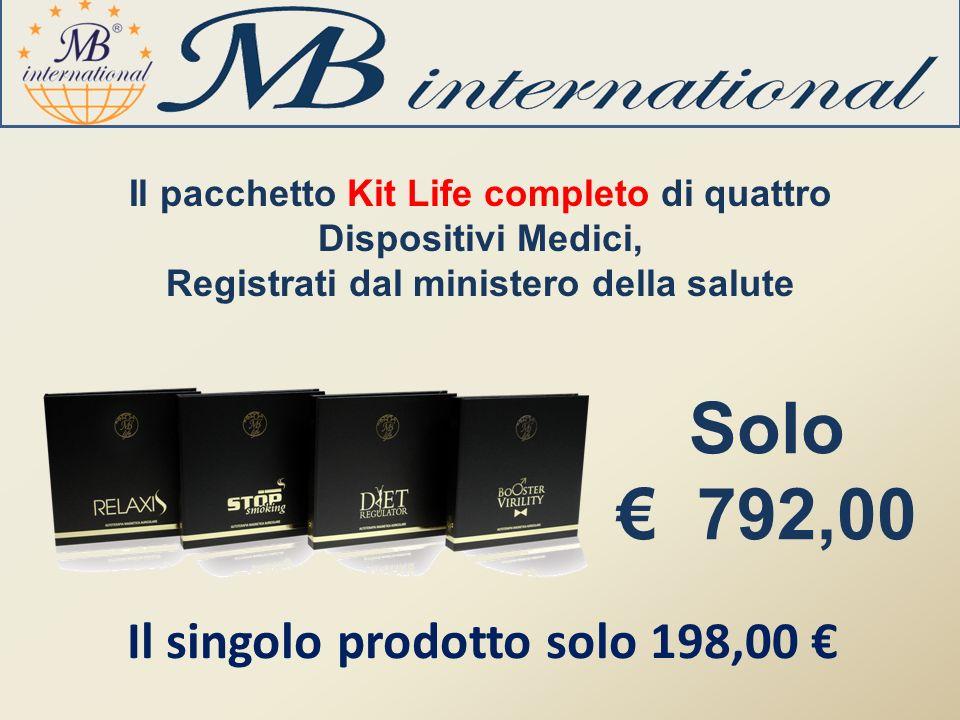 Il pacchetto Kit Life completo di quattro Dispositivi Medici, Registrati dal ministero della salute Solo 792,00 Il singolo prodotto solo 198,00