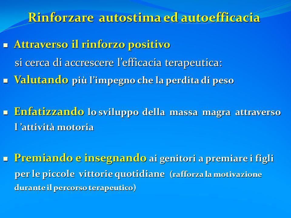 Rinforzare autostima ed autoefficacia Rinforzare autostima ed autoefficacia Attraverso il rinforzo positivo Attraverso il rinforzo positivo si cerca d