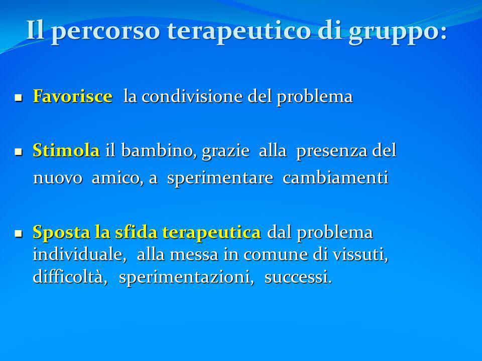Il percorso terapeutico di gruppo: Favorisce la condivisione del problema Favorisce la condivisione del problema Stimola il bambino, grazie alla prese